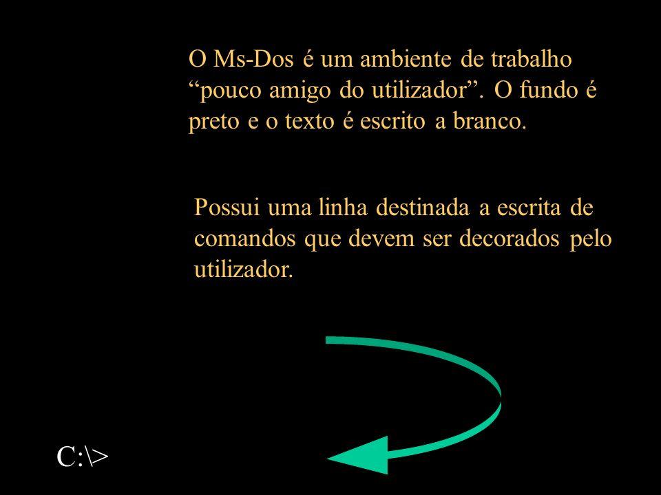 C:\> O Ms-Dos é um ambiente de trabalho pouco amigo do utilizador. O fundo é preto e o texto é escrito a branco. Possui uma linha destinada a escrita