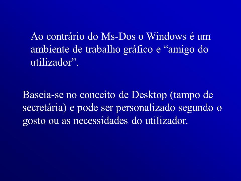 Ao contrário do Ms-Dos o Windows é um ambiente de trabalho gráfico e amigo do utilizador. Baseia-se no conceito de Desktop (tampo de secretária) e pod