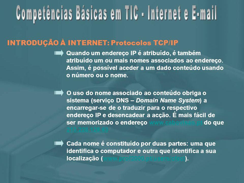 Quando um endereço IP é atribuído, é também atribuído um ou mais nomes associados ao endereço.