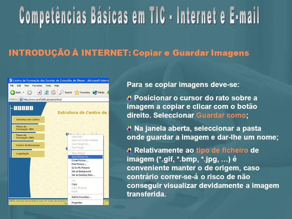 INTRODUÇÃO À INTERNET: Copiar e Guardar Imagens Para se copiar imagens deve-se: Posicionar o cursor do rato sobre a imagem a copiar e clicar com o botão direito.