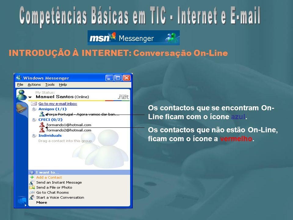 Os contactos que se encontram On- Line ficam com o ícone azul.