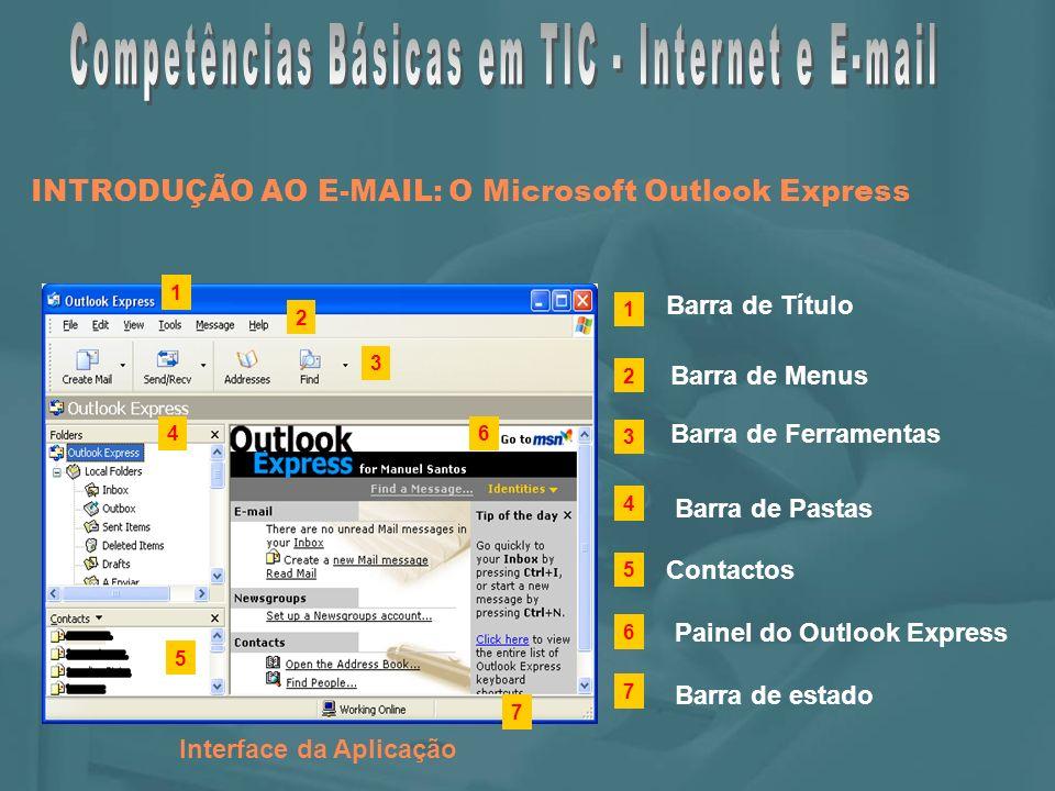INTRODUÇÃO AO E-MAIL: O Microsoft Outlook Express Interface da Aplicação Barra de Título Barra de Menus Barra de estado Barra de Pastas 1 2 3 4 5 6 1 2 3 4 5 6 Barra de Ferramentas Contactos 7 7 Painel do Outlook Express