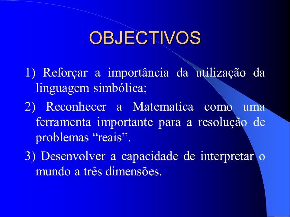 OBJECTIVOS 1) Reforçar a importância da utilização da linguagem simbólica; 2) Reconhecer a Matematica como uma ferramenta importante para a resolução