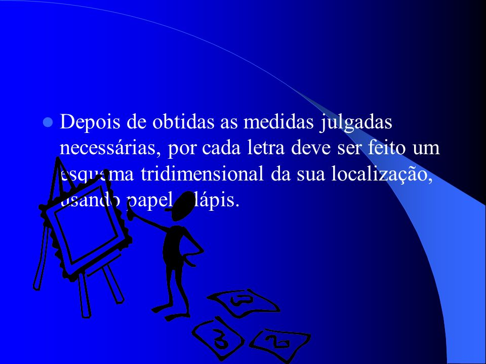 Depois de obtidas as medidas julgadas necessárias, por cada letra deve ser feito um esquema tridimensional da sua localização, usando papel e lápis.