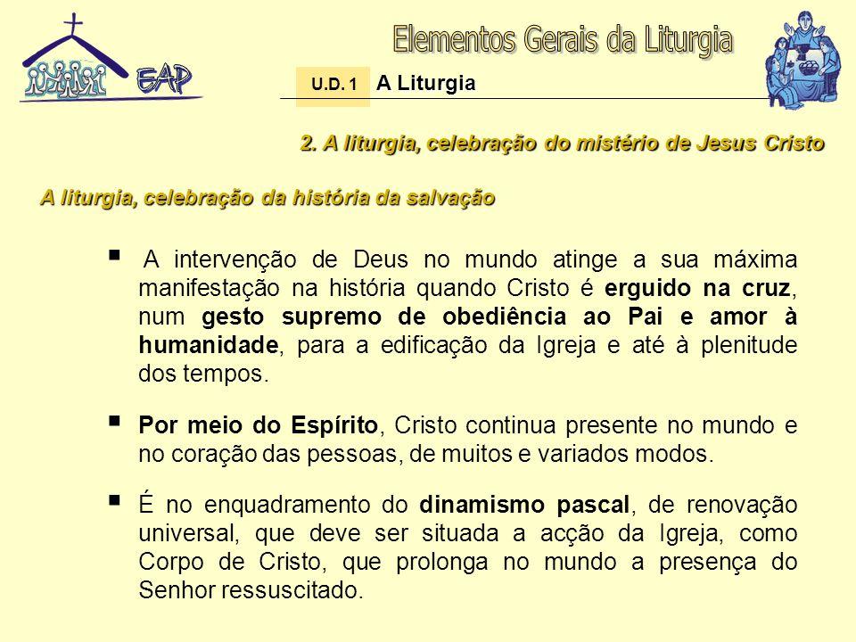 2. A liturgia, celebração do mistério de Jesus Cristo A intervenção de Deus no mundo atinge a sua máxima manifestação na história quando Cristo é ergu