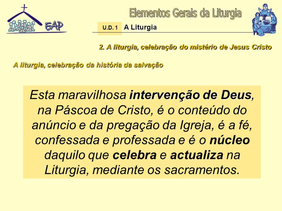 2. A liturgia, celebração do mistério de Jesus Cristo A liturgia, celebração da história da salvação intervenção de Deus Esta maravilhosa intervenção