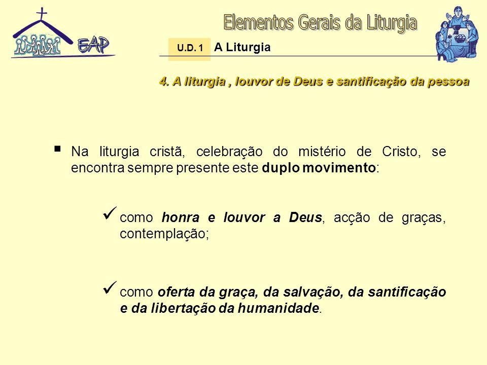 4. A liturgia, louvor de Deus e santificação da pessoa Na liturgia cristã, celebração do mistério de Cristo, se encontra sempre presente este duplo mo