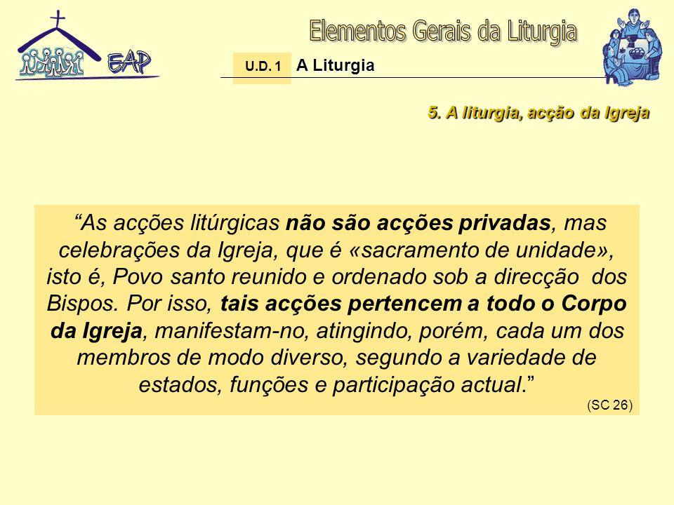 5. A liturgia, acção da Igreja As acções litúrgicas não são acções privadas, mas celebrações da Igreja, que é «sacramento de unidade», isto é, Povo sa