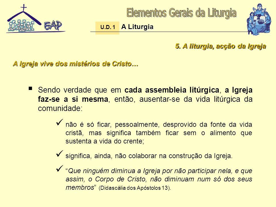 5. A liturgia, acção da Igreja Sendo verdade que em cada assembleia litúrgica, a Igreja faz-se a si mesma, então, ausentar-se da vida litúrgica da com