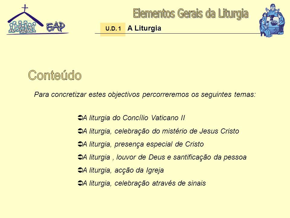 A liturgia do Concílio Vaticano II A liturgia, celebração do mistério de Jesus Cristo A liturgia, presença especial de Cristo A liturgia, louvor de De