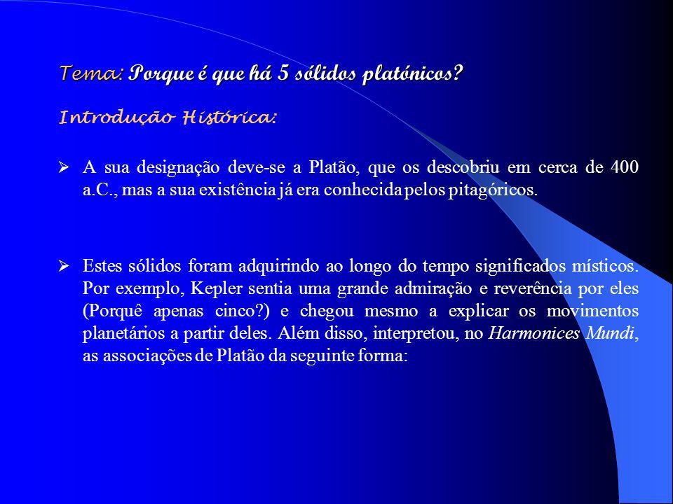 Tema: Porque é que há 5 sólidos platónicos? Introdução Histórica: A sua designação deve-se a Platão, que os descobriu em cerca de 400 a.C., mas a sua