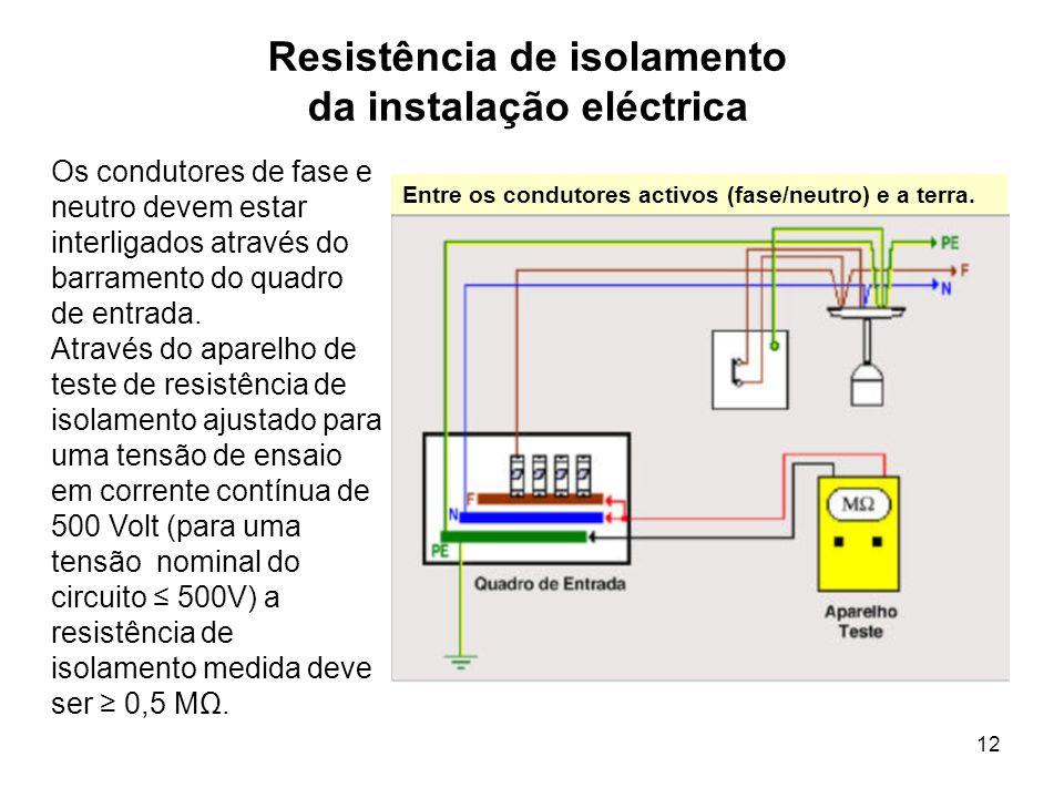 12 Resistência de isolamento da instalação eléctrica Os condutores de fase e neutro devem estar interligados através do barramento do quadro de entrada.