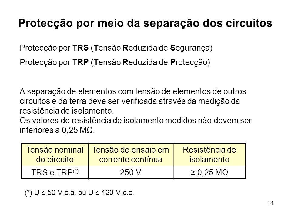 14 Protecção por meio da separação dos circuitos Protecção por TRS (Tensão Reduzida de Segurança) Protecção por TRP (Tensão Reduzida de Protecção) A separação de elementos com tensão de elementos de outros circuitos e da terra deve ser verificada através da medição da resistência de isolamento.