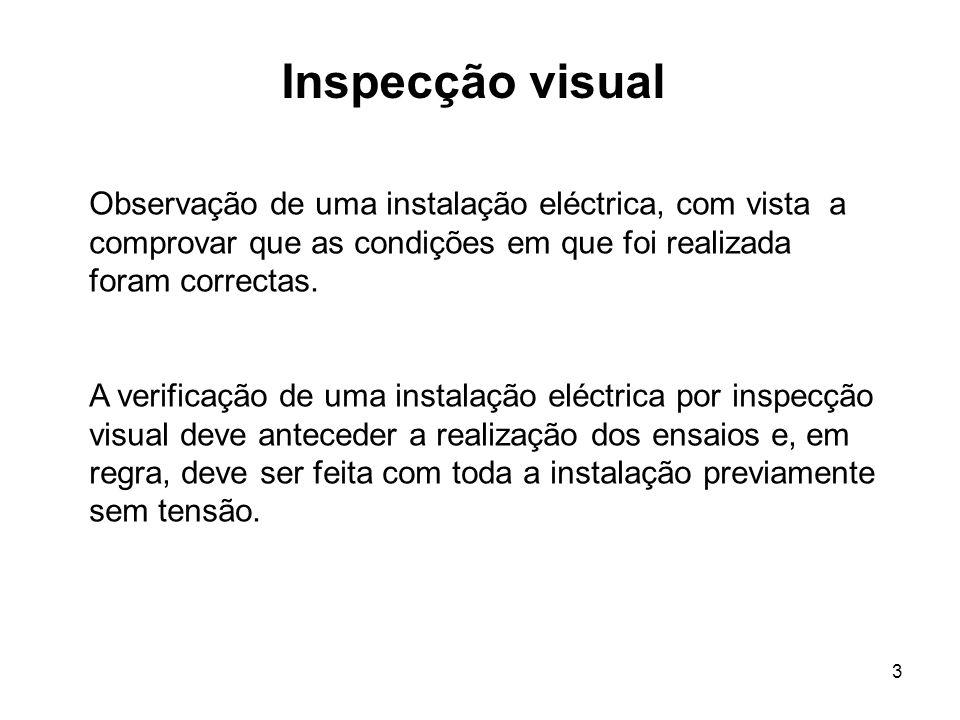 3 Inspecção visual Observação de uma instalação eléctrica, com vista a comprovar que as condições em que foi realizada foram correctas.