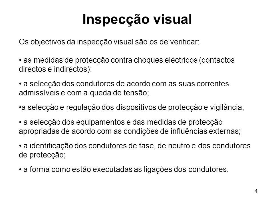 4 Inspecção visual Os objectivos da inspecção visual são os de verificar: as medidas de protecção contra choques eléctricos (contactos directos e indirectos): a selecção dos condutores de acordo com as suas correntes admissíveis e com a queda de tensão; a selecção e regulação dos dispositivos de protecção e vigilância; a selecção dos equipamentos e das medidas de protecção apropriadas de acordo com as condições de influências externas; a identificação dos condutores de fase, de neutro e dos condutores de protecção; a forma como estão executadas as ligações dos condutores.