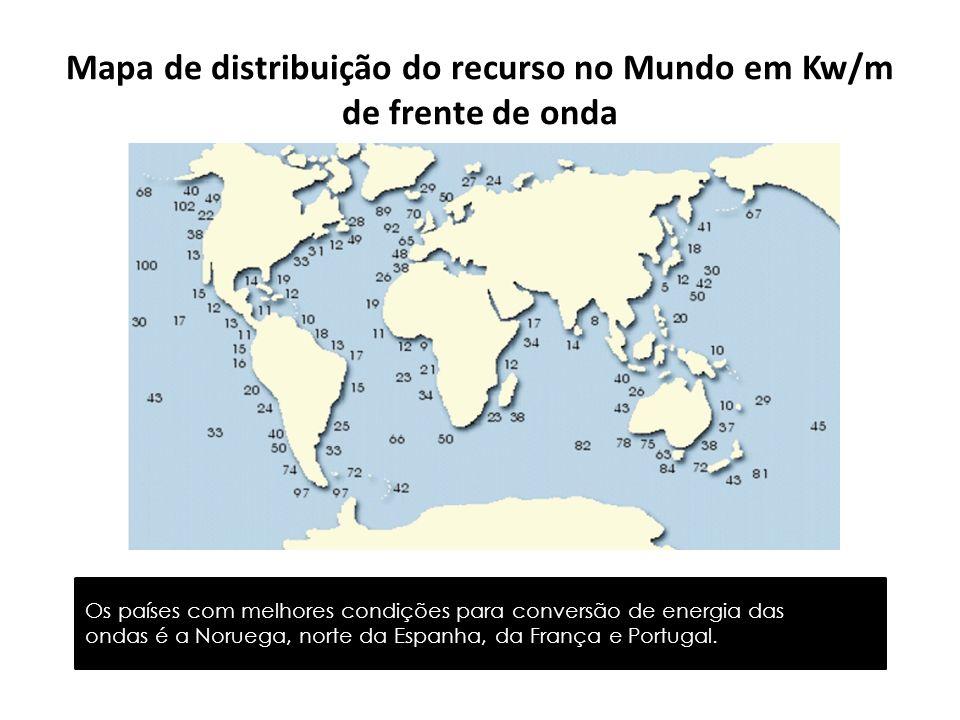 Mapa de distribuição do recurso no Mundo em Kw/m de frente de onda Os países com melhores condições para conversão de energia das ondas é a Noruega, n