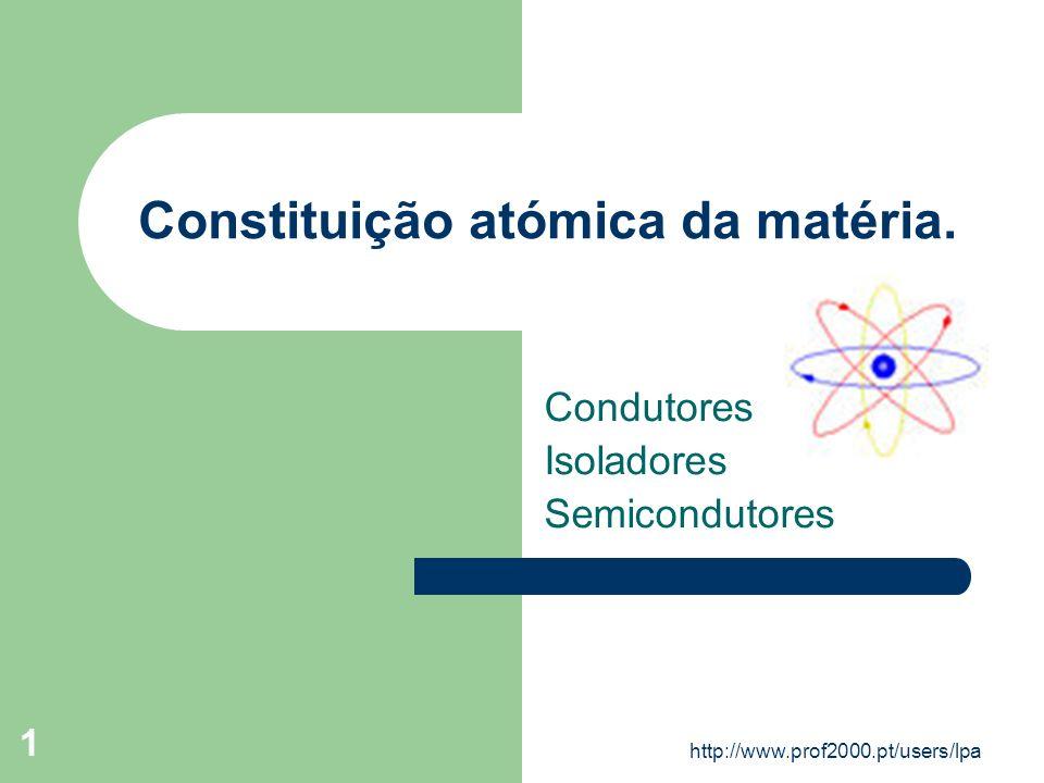 http://www.prof2000.pt/users/lpa 1 Constituição atómica da matéria. Condutores Isoladores Semicondutores