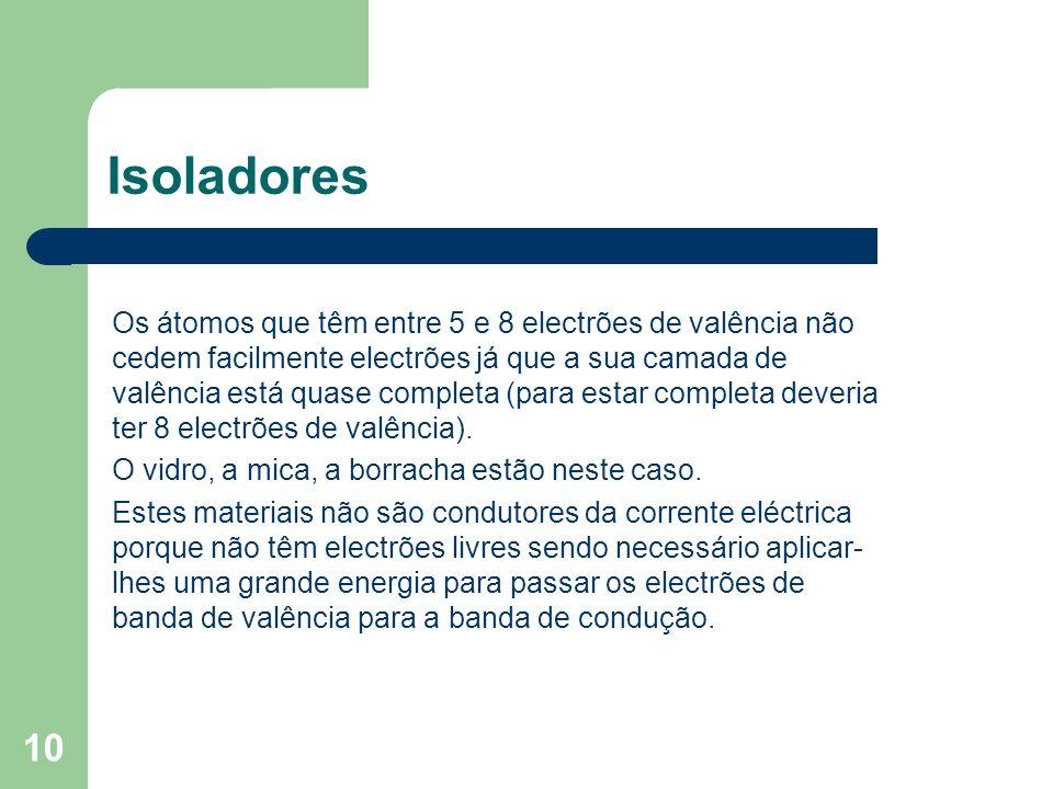 10 Isoladores Os átomos que têm entre 5 e 8 electrões de valência não cedem facilmente electrões já que a sua camada de valência está quase completa (