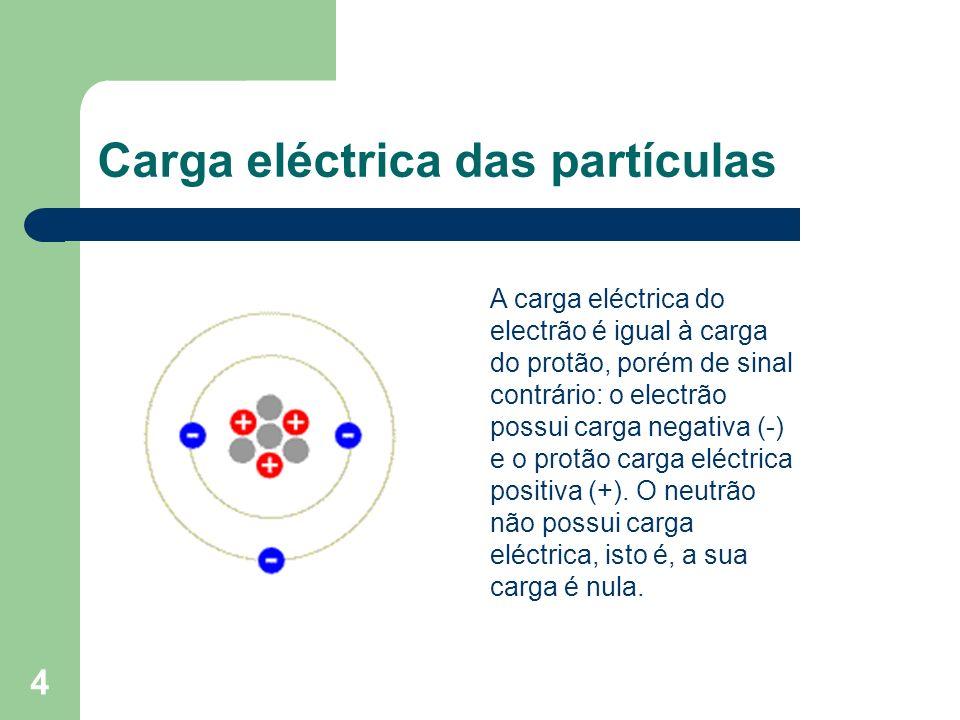 4 Carga eléctrica das partículas A carga eléctrica do electrão é igual à carga do protão, porém de sinal contrário: o electrão possui carga negativa (
