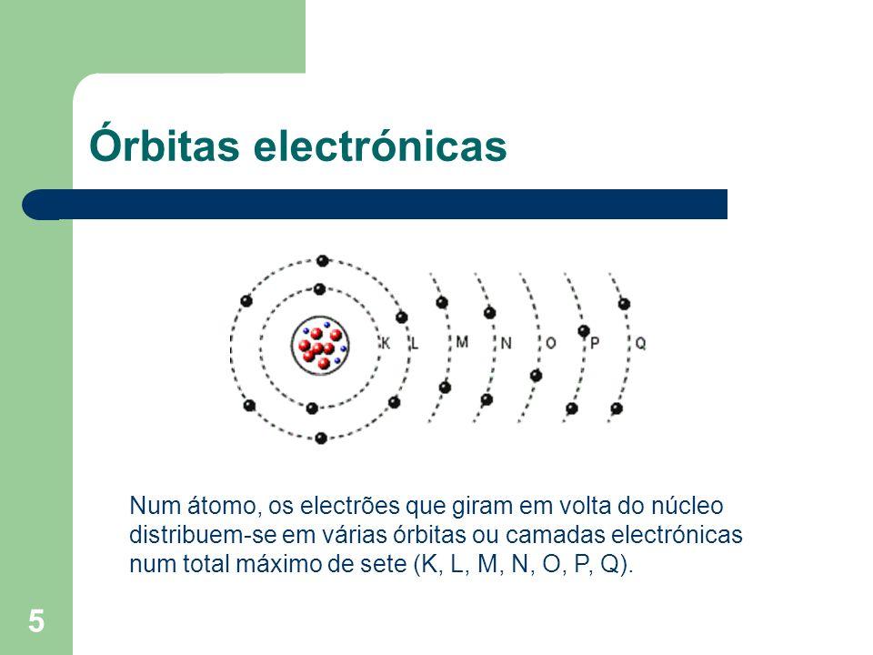 5 Órbitas electrónicas Num átomo, os electrões que giram em volta do núcleo distribuem-se em várias órbitas ou camadas electrónicas num total máximo d