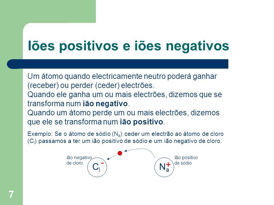 7 Iões positivos e iões negativos Um átomo quando electricamente neutro poderá ganhar (receber) ou perder (ceder) electrões. Quando ele ganha um ou ma
