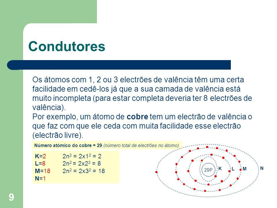 9 Condutores Os átomos com 1, 2 ou 3 electrões de valência têm uma certa facilidade em cedê-los já que a sua camada de valência está muito incompleta