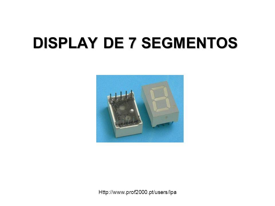 2 O display de sete segmentos é um invólucro com sete leds com formato de segmento, posicionados de modo a possibilitar a formação de números decimais e algumas letras utilizadas no código hexadecimal.