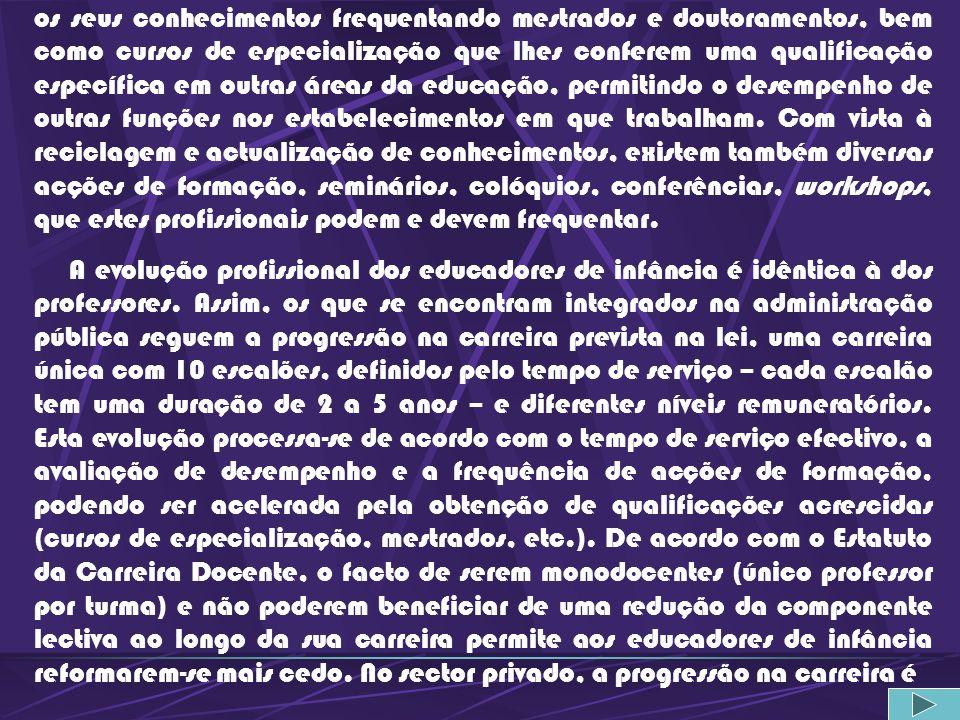 Ensino Particular e Cooperativo Esc. Sup. de Educação de Almeida Garrett (Lisboa); Esc. Sup. de Educação de Fafe; Esc. Sup. de Educação Jean Piaget (A