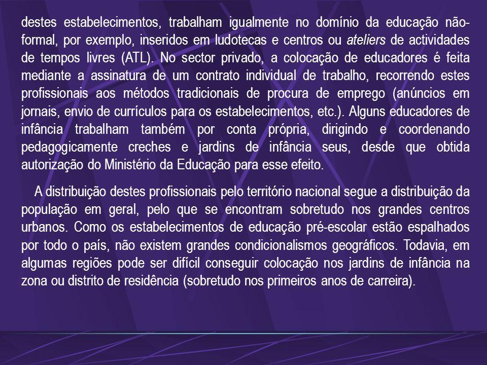 Os educadores de infância trabalham para diversas entidades, predominantemente do sector público. Neste sector, é o Ministério da Educação o organismo