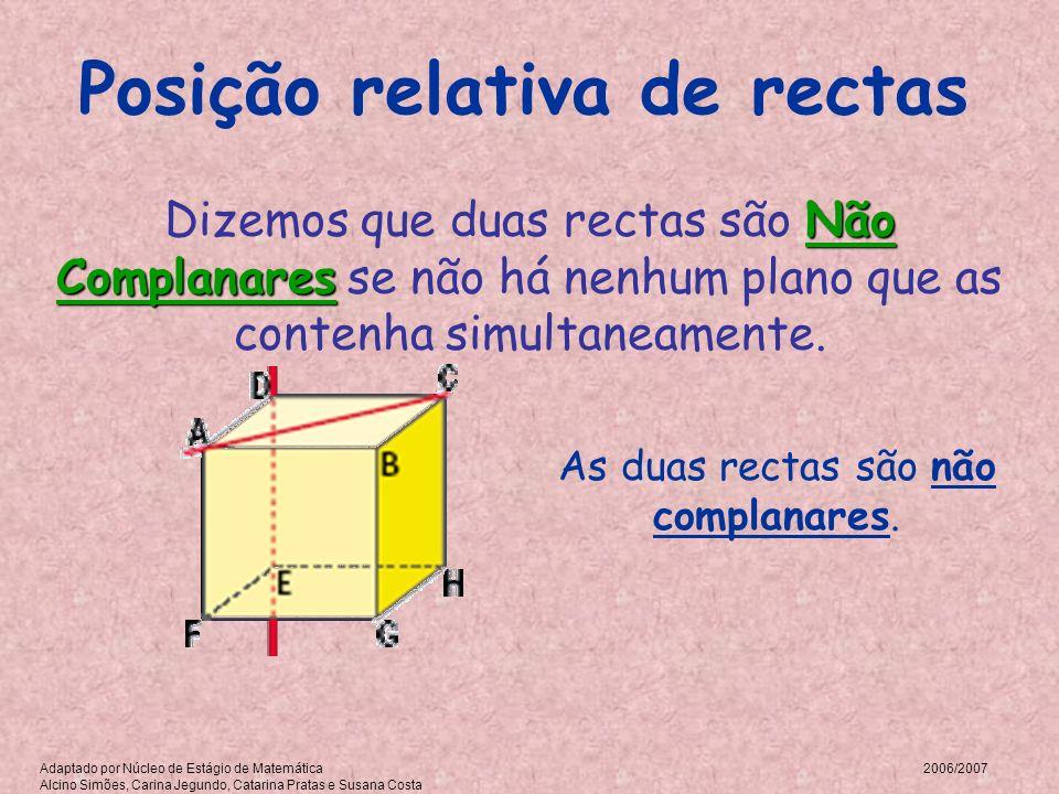 Posição relativa de rectas As duas rectas são não complanares. Não Complanares Dizemos que duas rectas são Não Complanares se não há nenhum plano que