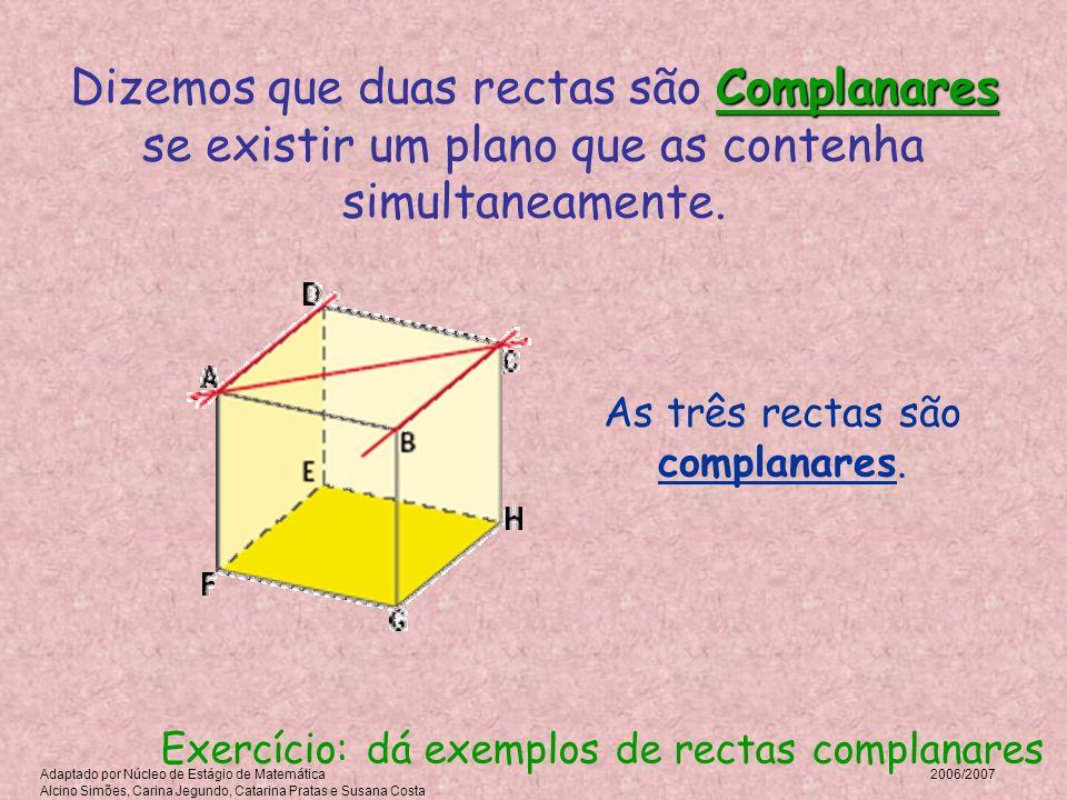 As três rectas são complanares. Complanares Dizemos que duas rectas são Complanares se existir um plano que as contenha simultaneamente. Exercício: dá