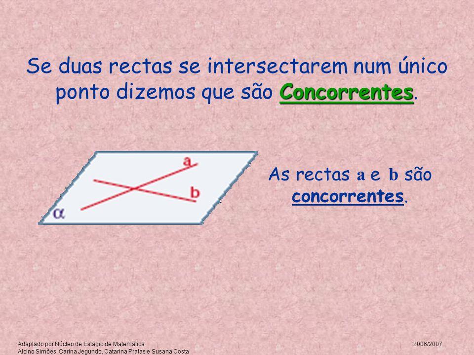 Concorrentes Se duas rectas se intersectarem num único ponto dizemos que são Concorrentes. As rectas a e b são concorrentes. Adaptado por Núcleo de Es