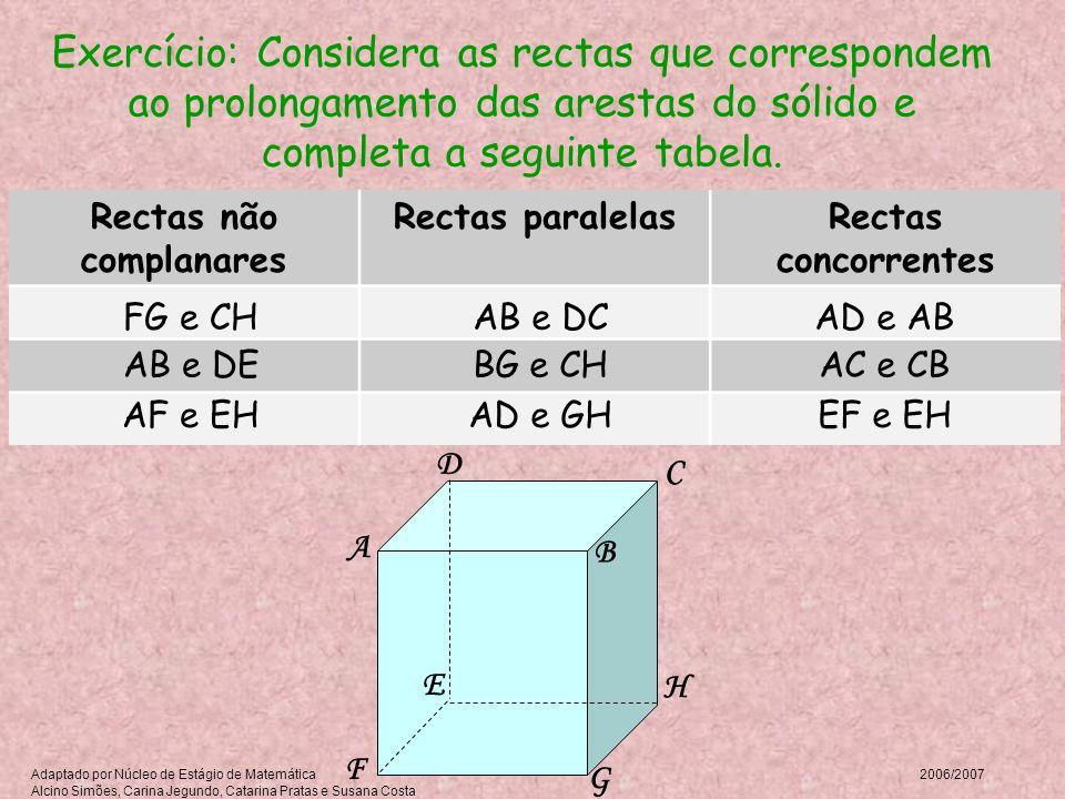 A B C D E F G H Exercício: Considera as rectas que correspondem ao prolongamento das arestas do sólido e completa a seguinte tabela. Rectas não compla
