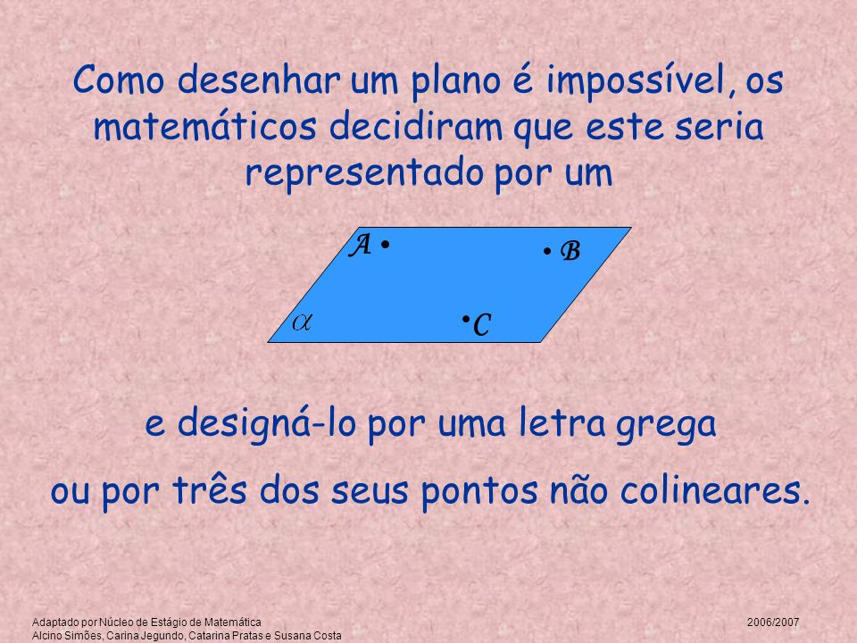 Como desenhar um plano é impossível, os matemáticos decidiram que este seria representado por um e designá-lo por uma letra grega ou por três dos seus