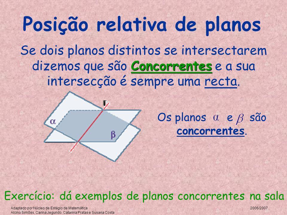 Posição relativa de planos Se dois planos distintos se intersectarem dizemos que são C CC Concorrentes e a sua intersecção é sempre uma recta. Os plan
