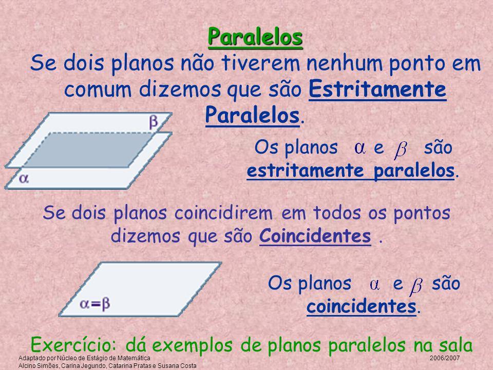 Paralelos Paralelos Se dois planos não tiverem nenhum ponto em comum dizemos que são Estritamente Paralelos. Os planos e são estritamente paralelos. S