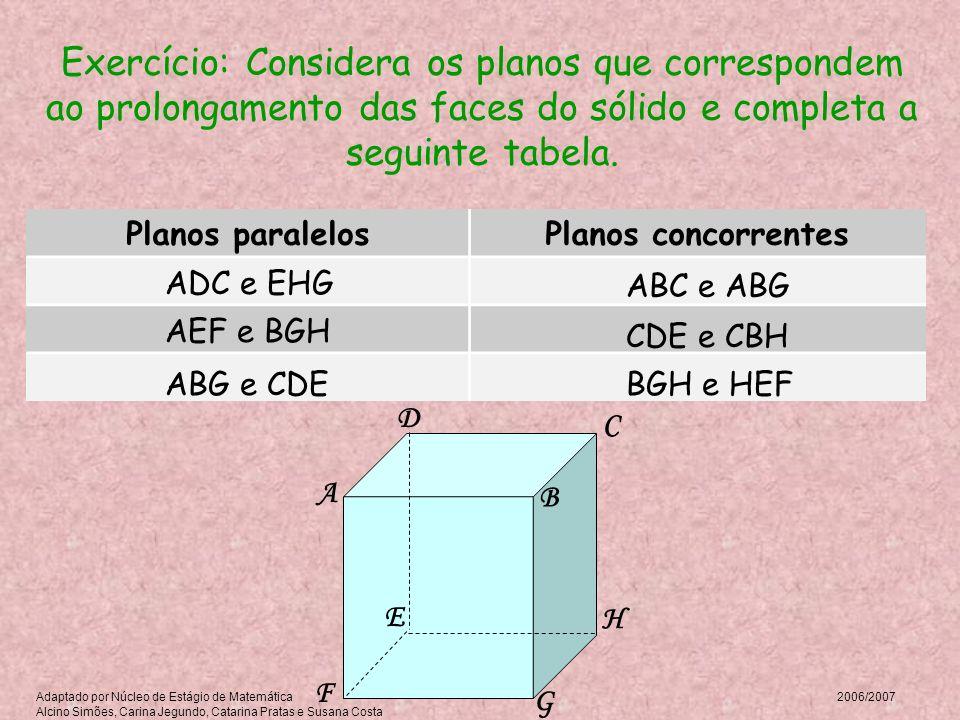 Exercício: Considera os planos que correspondem ao prolongamento das faces do sólido e completa a seguinte tabela. Planos paralelosPlanos concorrentes