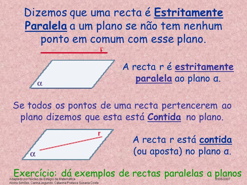 A recta r é estritamente paralela ao plano α. Dizemos que uma recta é Estritamente Paralela a um plano se não tem nenhum ponto em comum com esse plano