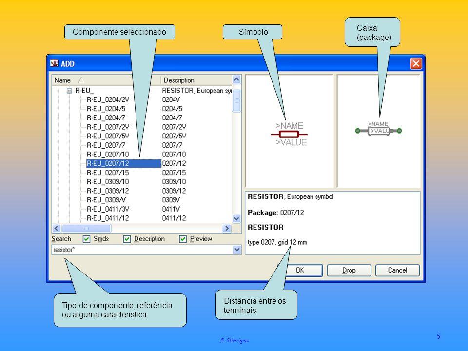 A. Henriques 5 Tipo de componente, referência ou alguma característica. Distância entre os terminais Componente seleccionadoSímbolo Caixa (package)