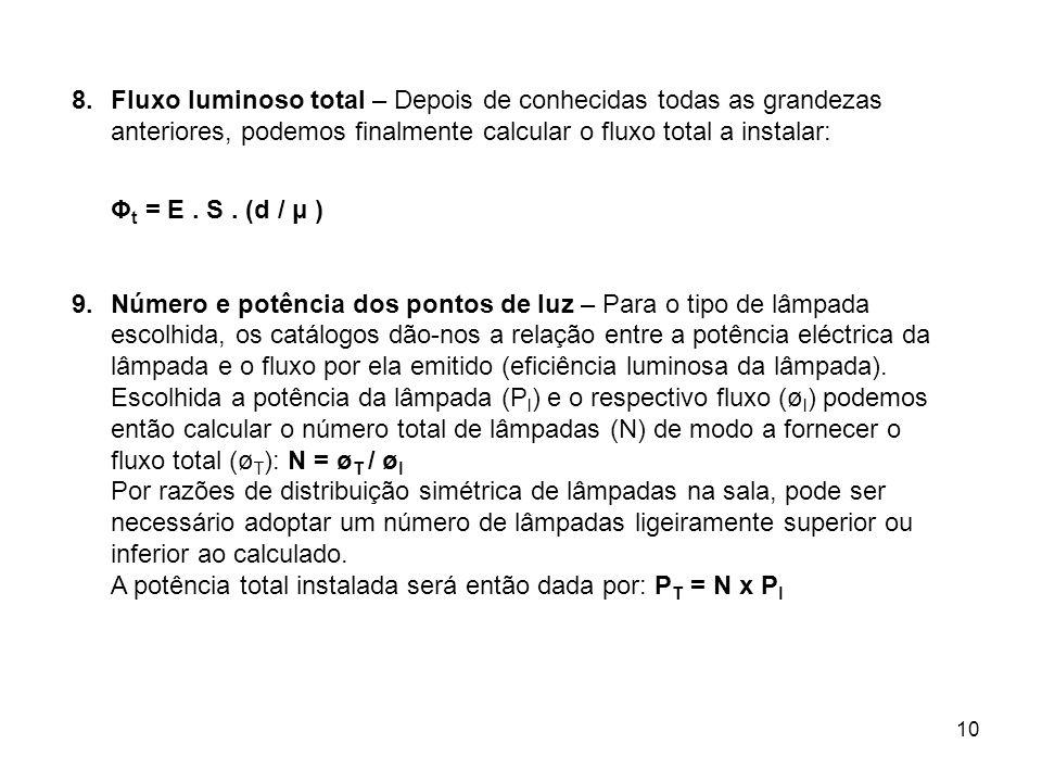10 8.Fluxo luminoso total – Depois de conhecidas todas as grandezas anteriores, podemos finalmente calcular o fluxo total a instalar: Φ t = E. S. (d /