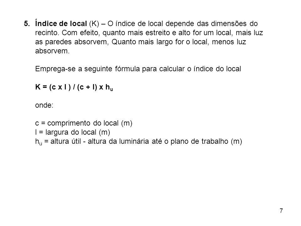 7 5.Índice de local (K) – O índice de local depende das dimensões do recinto. Com efeito, quanto mais estreito e alto for um local, mais luz as parede