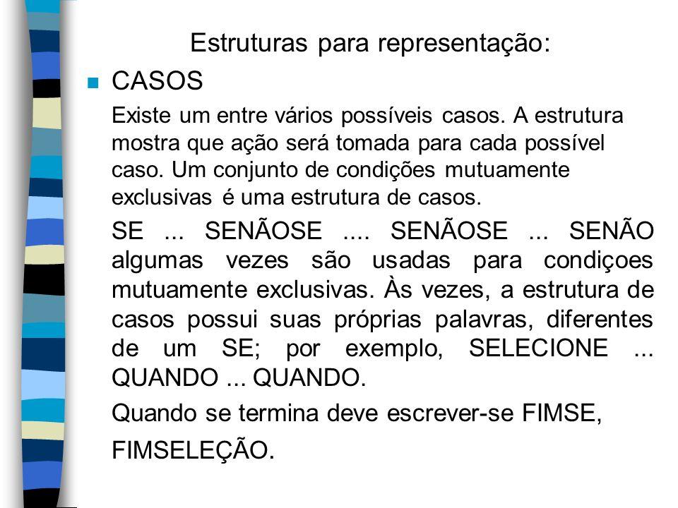 Estruturas para representação: n CASOS Existe um entre vários possíveis casos. A estrutura mostra que ação será tomada para cada possível caso. Um con