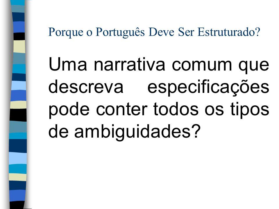 Porque o Português Deve Ser Estruturado? Uma narrativa comum que descreva especificações pode conter todos os tipos de ambiguidades?