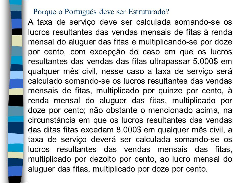Porque o Português deve ser Estruturado? A taxa de serviço deve ser calculada somando-se os lucros resultantes das vendas mensais de fitas à renda men