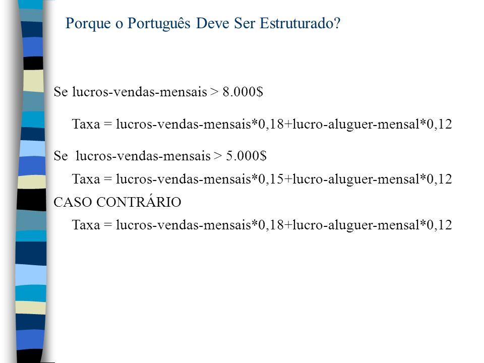 Porque o Português Deve Ser Estruturado? Se lucros-vendas-mensais > 8.000$ Taxa = lucros-vendas-mensais*0,18+lucro-aluguer-mensal*0,12 Se lucros-venda