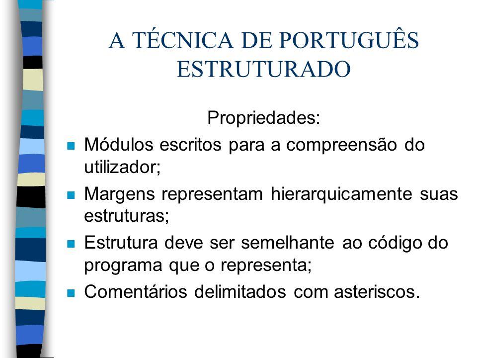 A TÉCNICA DE PORTUGUÊS ESTRUTURADO Propriedades: n Módulos escritos para a compreensão do utilizador; n Margens representam hierarquicamente suas estr