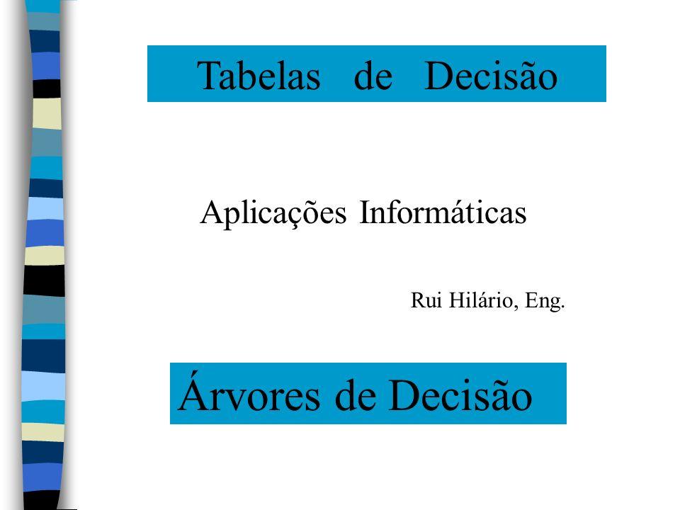 Tabelas de Decisão Árvores de Decisão Aplicações Informáticas Rui Hilário, Eng.