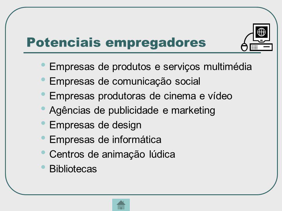 Potenciais empregadores Empresas de produtos e serviços multimédia Empresas de comunicação social Empresas produtoras de cinema e vídeo Agências de pu