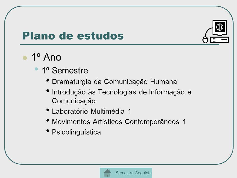 Plano de estudos 1º Ano 1º Semestre Dramaturgia da Comunicação Humana Introdução às Tecnologias de Informação e Comunicação Laboratório Multimédia 1 M
