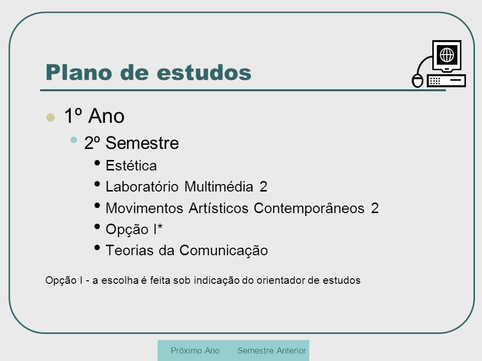 Plano de estudos 1º Ano 2º Semestre Estética Laboratório Multimédia 2 Movimentos Artísticos Contemporâneos 2 Opção I* Teorias da Comunicação Opção I -